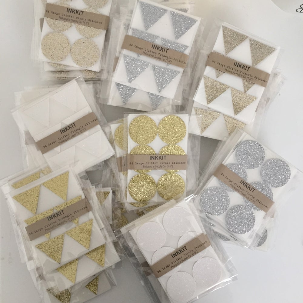 Image of Triangle Glitter Stickers | White