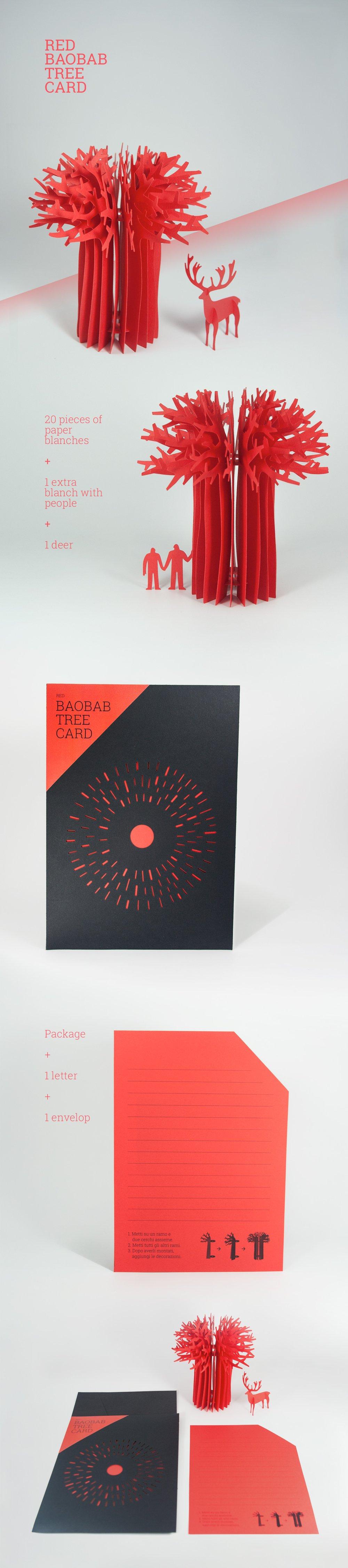 Image of Baobab tree card_Red