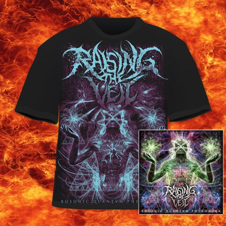 Image of RAISING THE VEIL - CD & BOSONIC QUANTVM PHENOMENA - T-SHIRT BUNDLE
