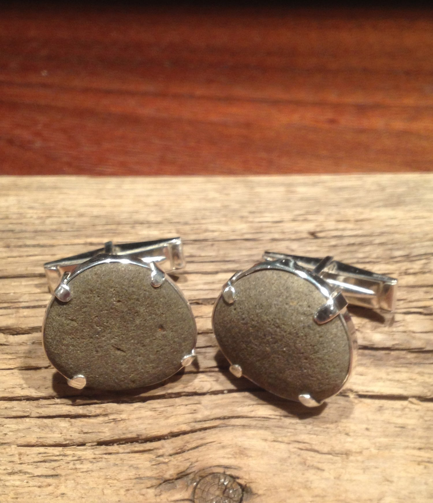 Image of Hudson River beach rock cufflinks