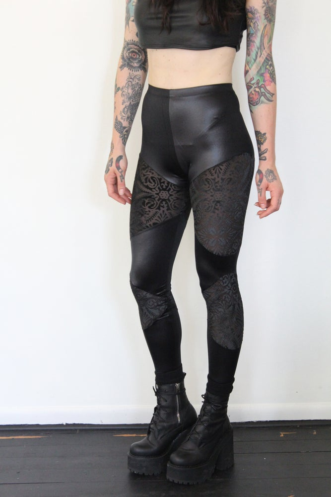 Image of Double panel with burned out velvet leggings