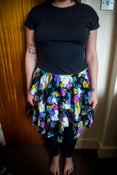 Image of 80s Black, Green & Pink Floral Frilled Dress