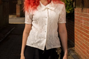 Image of 80s Cream Floral Lace Short Sleeved Blouse