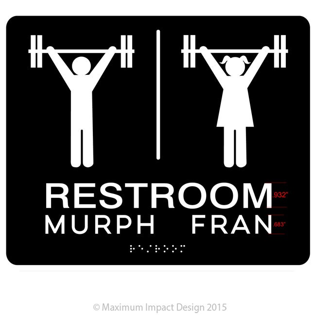 Badassskatemom CF Restroom Signage Murph and Fran ADA Compliant