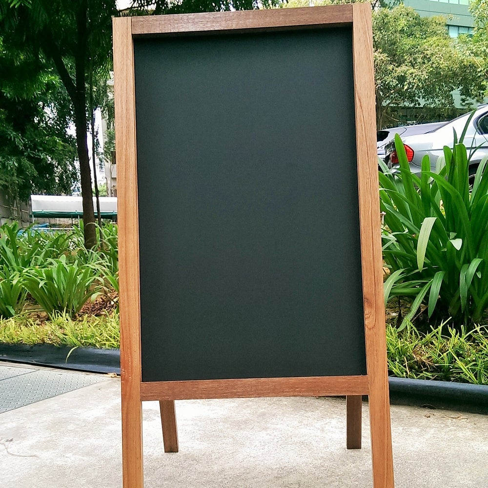 Image of Medium Double Sided Standing Chalkboard with Natural Wood Frame (90cm X 60cm)