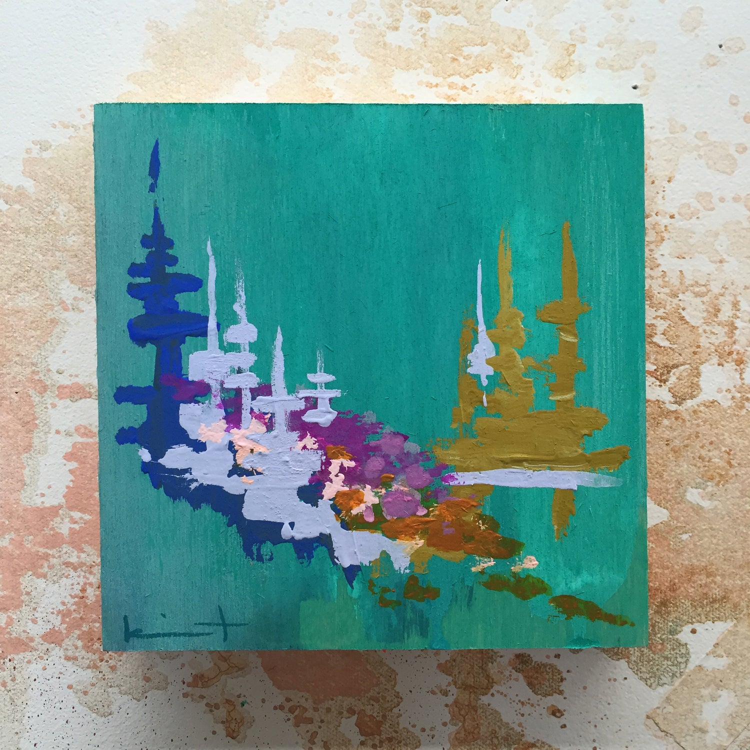 Image of Tiny Painting No. 17 (Teal, Slate Lavender)