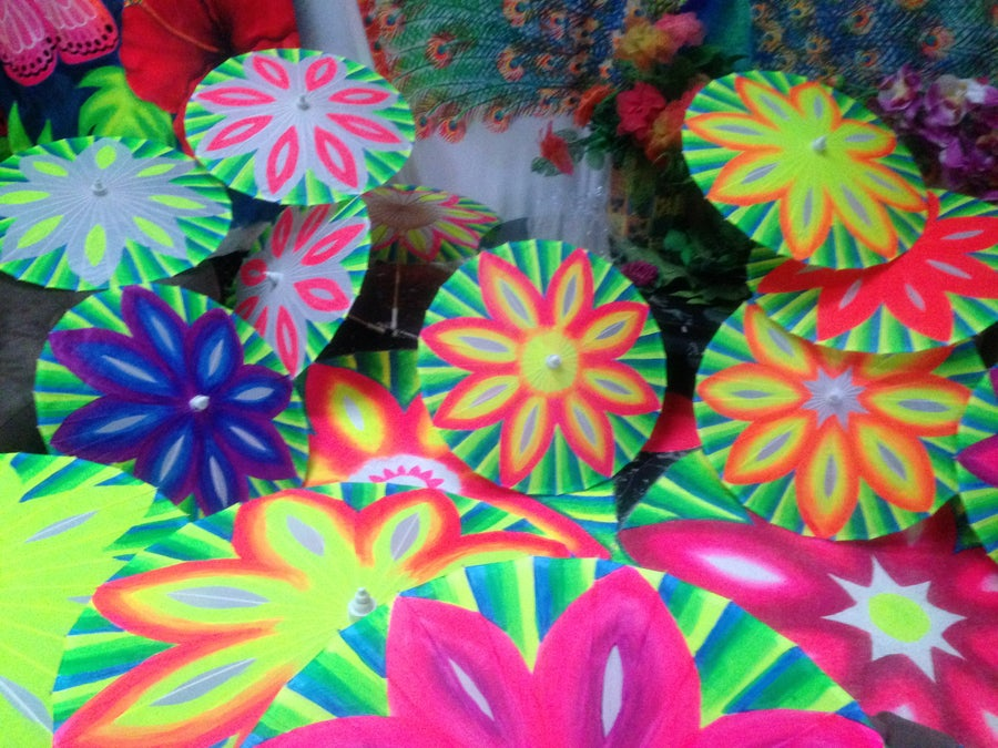 Image of Handpainted Flower Parasols ( UV Reactive )