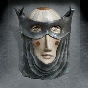 Image of Master of Disguise - Porcelain Mask Sculpture, Ceramic Face Pendant, Original Mask Art