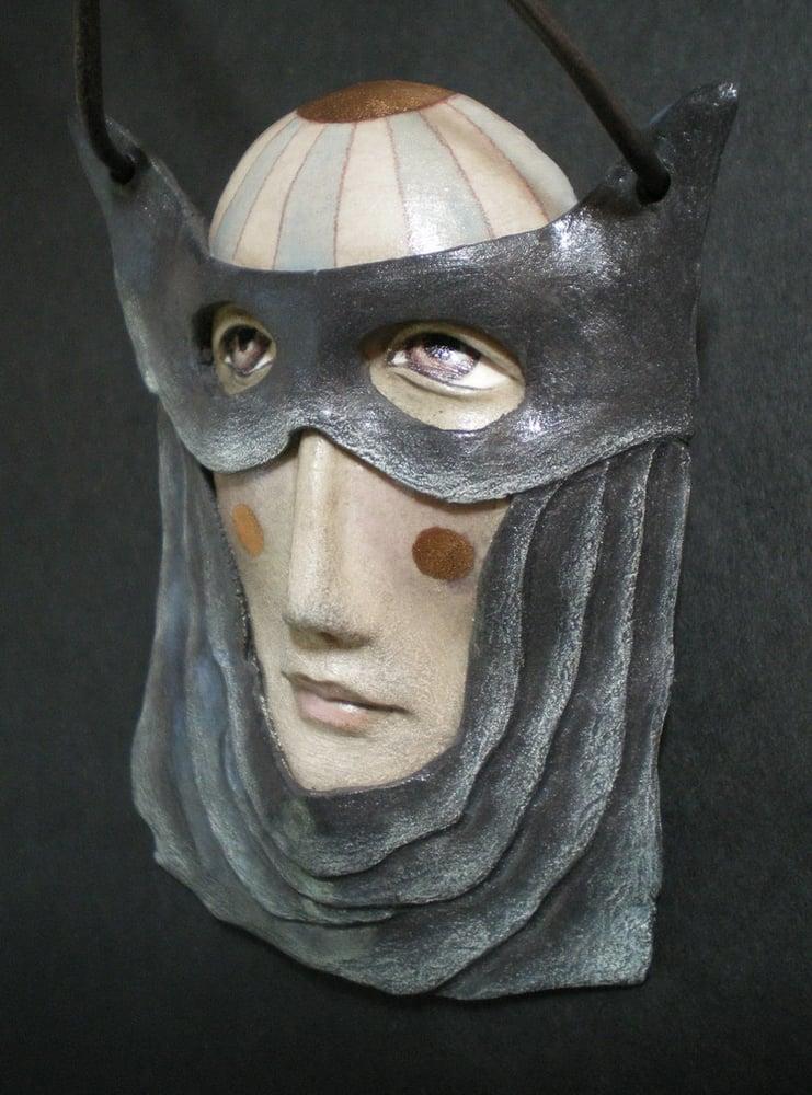 Image of Master of Disguise - Porcelain Mask Sculpture, Ceramic Face Pendant, Original Mask Art