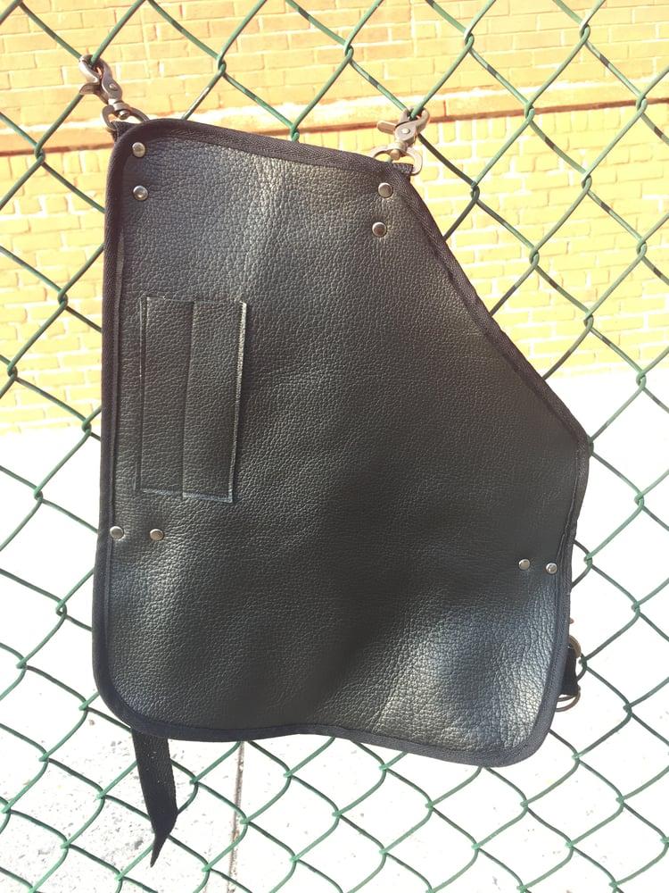 Image of Black leather leg apron