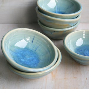 Image of Small Ceramic Bowl, Sea Glass Blue Pottery Prep Bowl, Handcrafted Made in USA