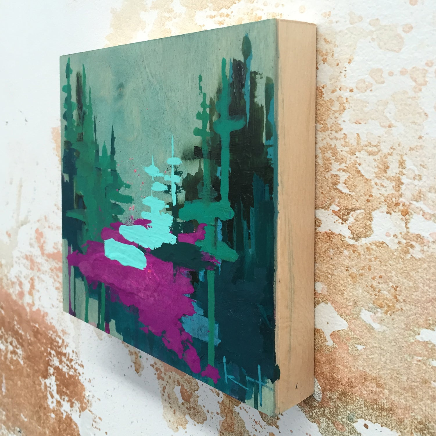 Image of Tiny Painting No. 21 (aqua, violet, jade)
