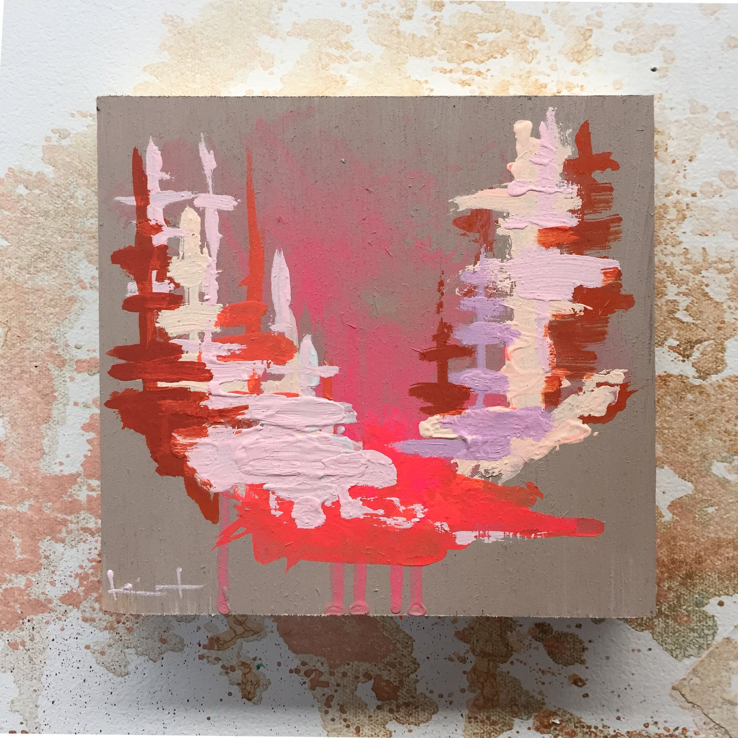 Image of Tiny Painting No. 27 (dove, shell, rust)