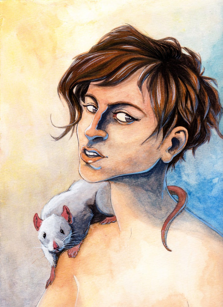 Image of Rat on my Shoulder (9x12 Original Watercolor)