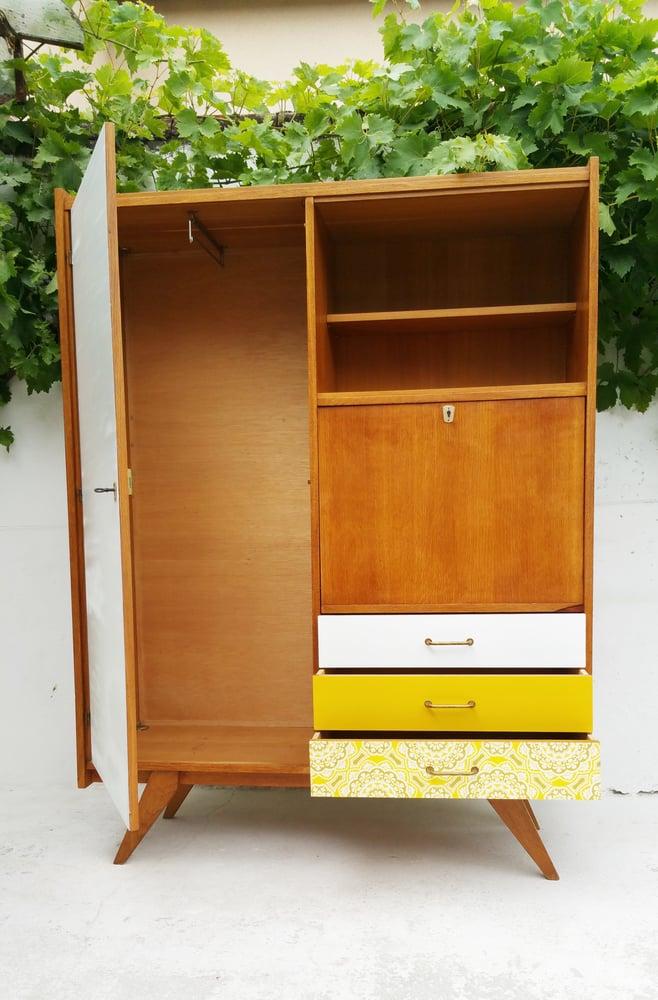Image of Armoire secrétaire bois clair - Vintage