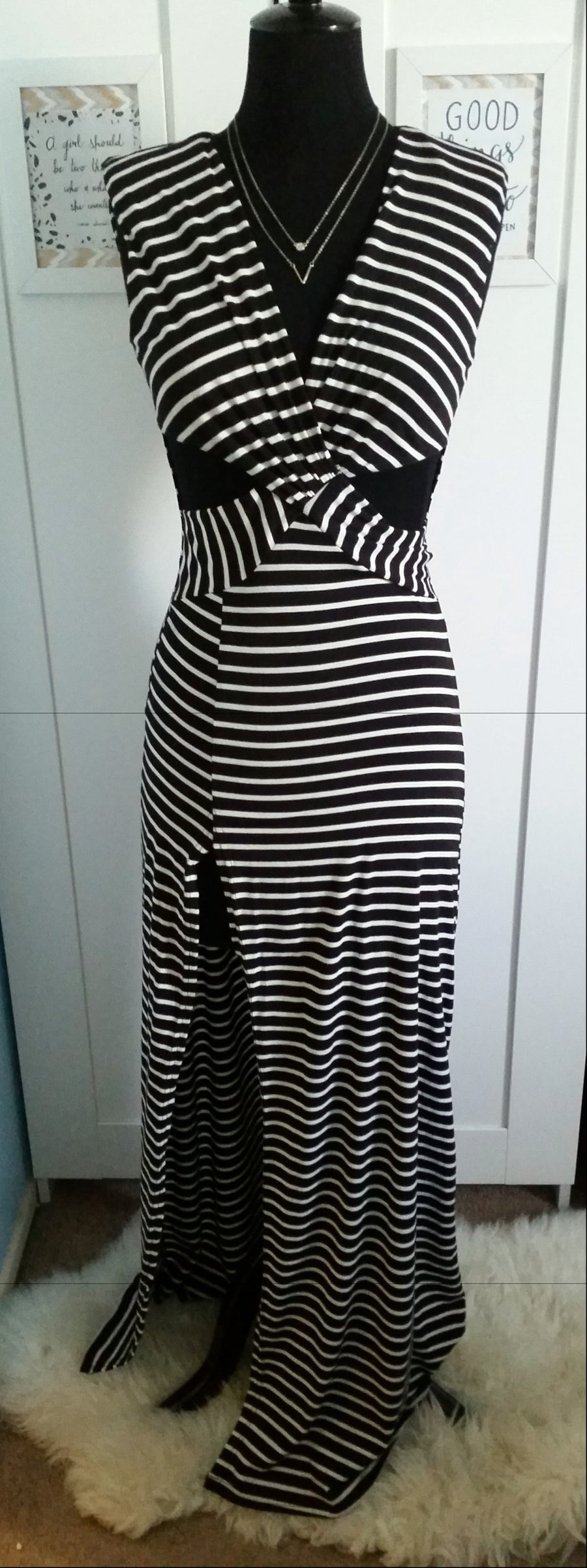 Image of (S)Black/White stripe cut out & high split dress