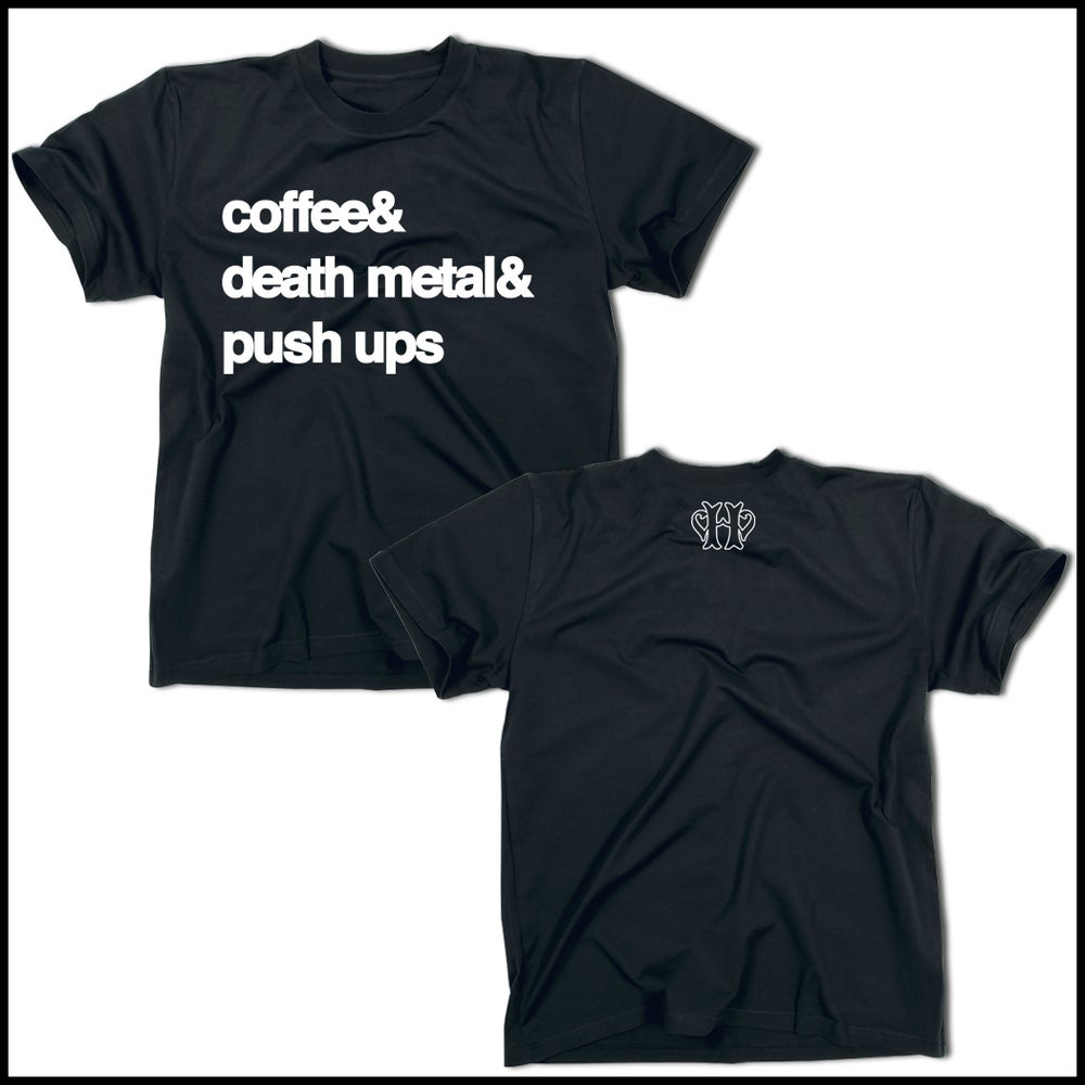 Image of COFFEE, DEATH METAL & PUSH UPS NAVY BLUE T-SHIRT
