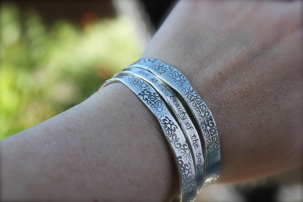 Image of sterling silver love quote cuff . feather cuff . Cuff-1