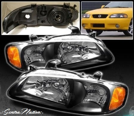 Image of (B15) 00-03 SENTRA SE-R styled BLACK HEADLIGHTS