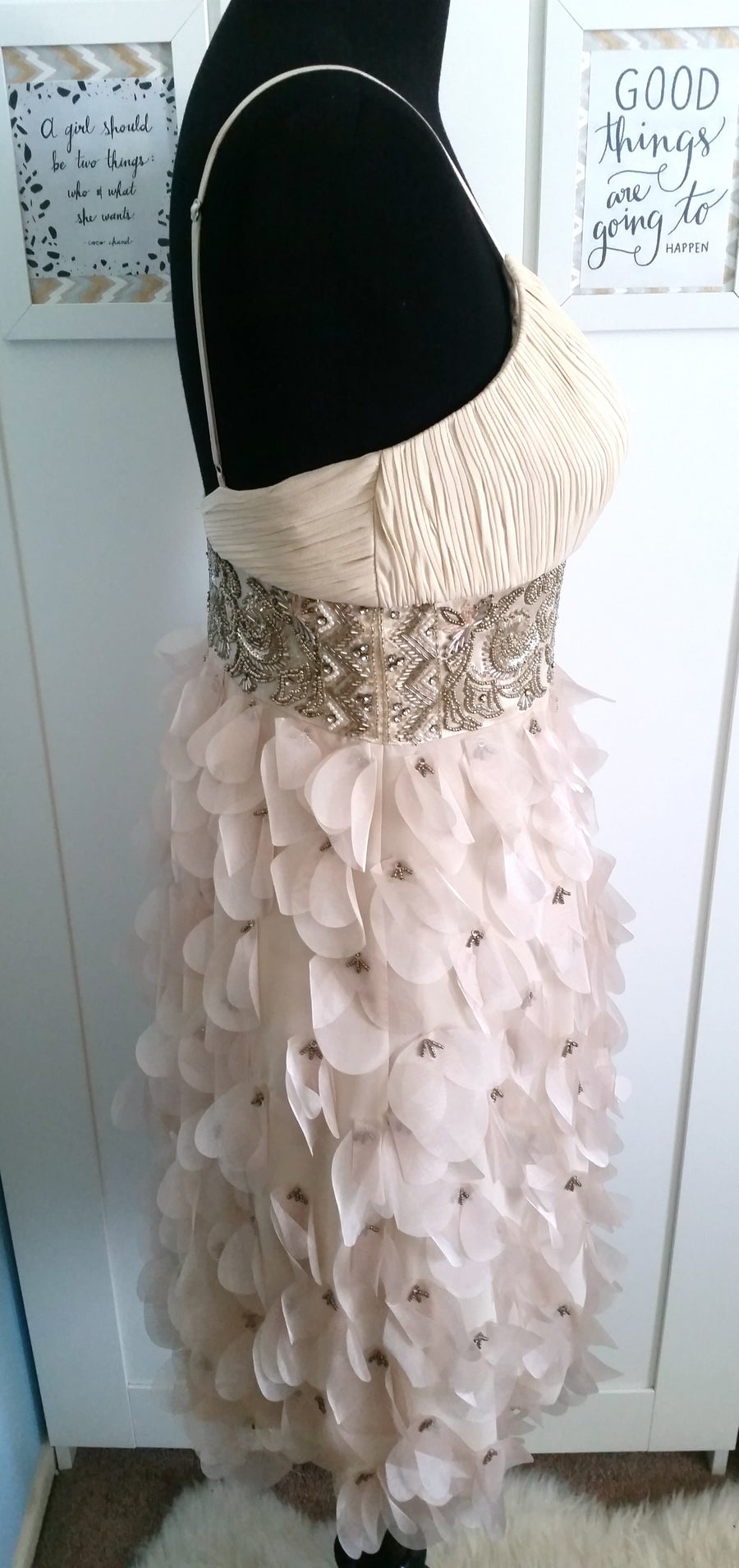 Image of Beaded and Chiffon Cream Cocktail Dress