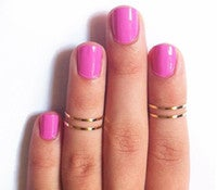 Image of Simple Gold Midi Ring |Set of 4|