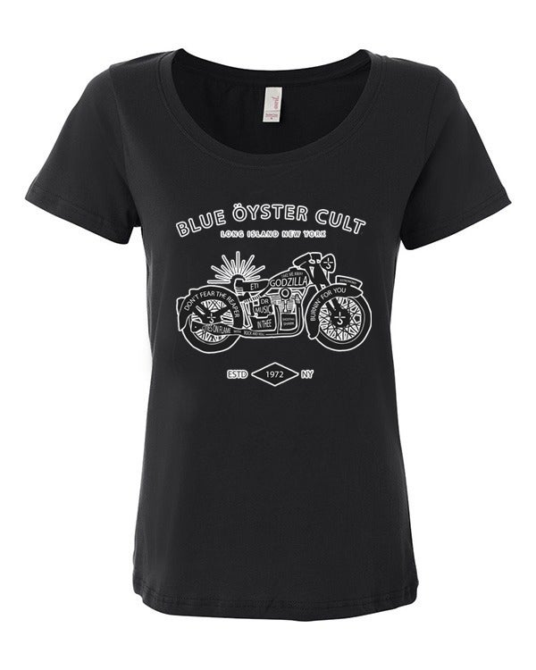 Image of Blue Oyster Cult Unisex Shirt - White or Black / BOC Ladies Scoop Neck Shirt - Black