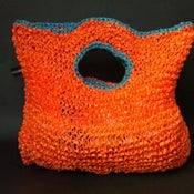 Image of Orange Handbag with Blue Detail