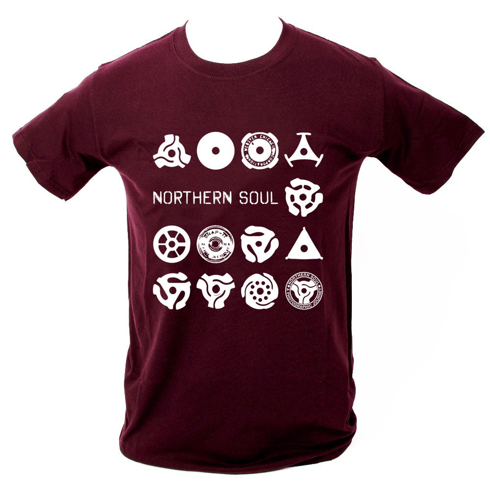 Image of Record centre adapter T-Shirt. MAROON