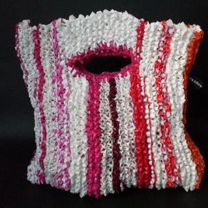 Image of White & Pink Stripe Handbag