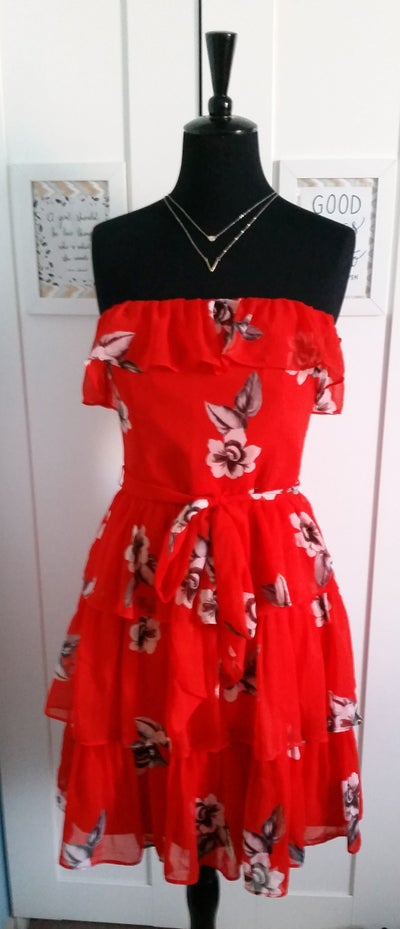 Image of White House Black Market Red Ruffle Dress