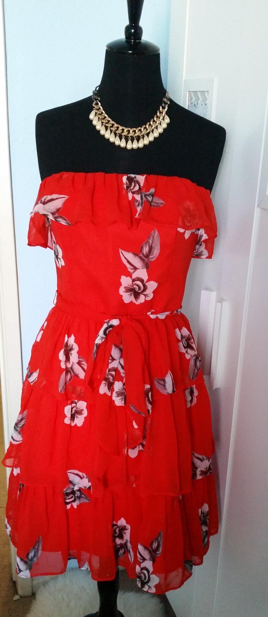 Image of White House Black Market Red Ruffle Dress