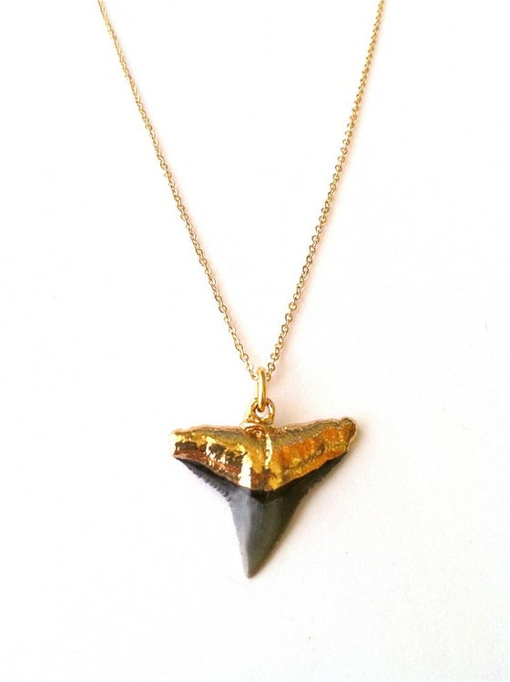 Image of Gold dipped Shark Tooth Necklace