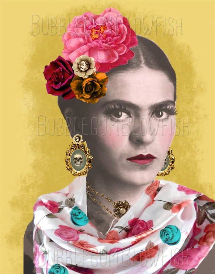 Image of Frida Kahlo with skull earings Digital Art Download