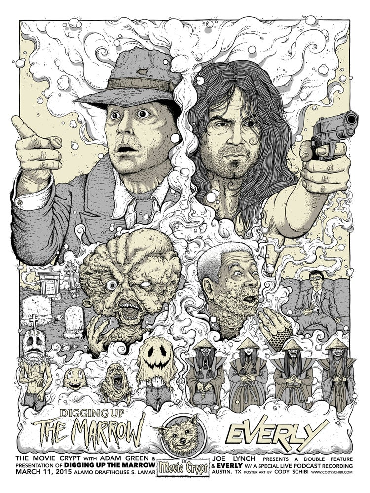 """'The Movie Crypt presents Digging Up The Marrow/EVERLY' limited edition 18""""x24"""" screen print"""