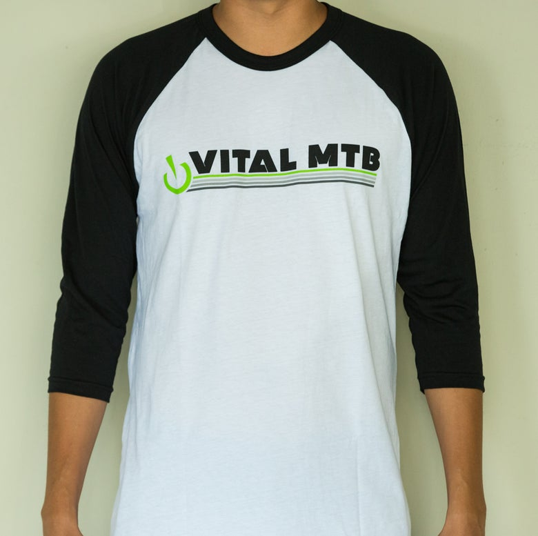 Image of Vital MTB Retro 3/4 Sleeve T-Shirt, White/Black