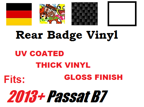 Image of Rear Badge Vinyl -Sticker bomb-German Flag-Carbon Fiber-White fits: Volkswagen Passat (2013+)