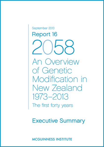 Image of 2013 Executive Summary: Report 16 - An overview of Genetic Modification in NZ 1973-2013
