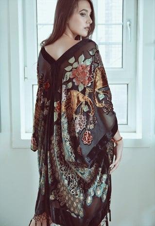 Image of Embellished Peacock Kimono - Black