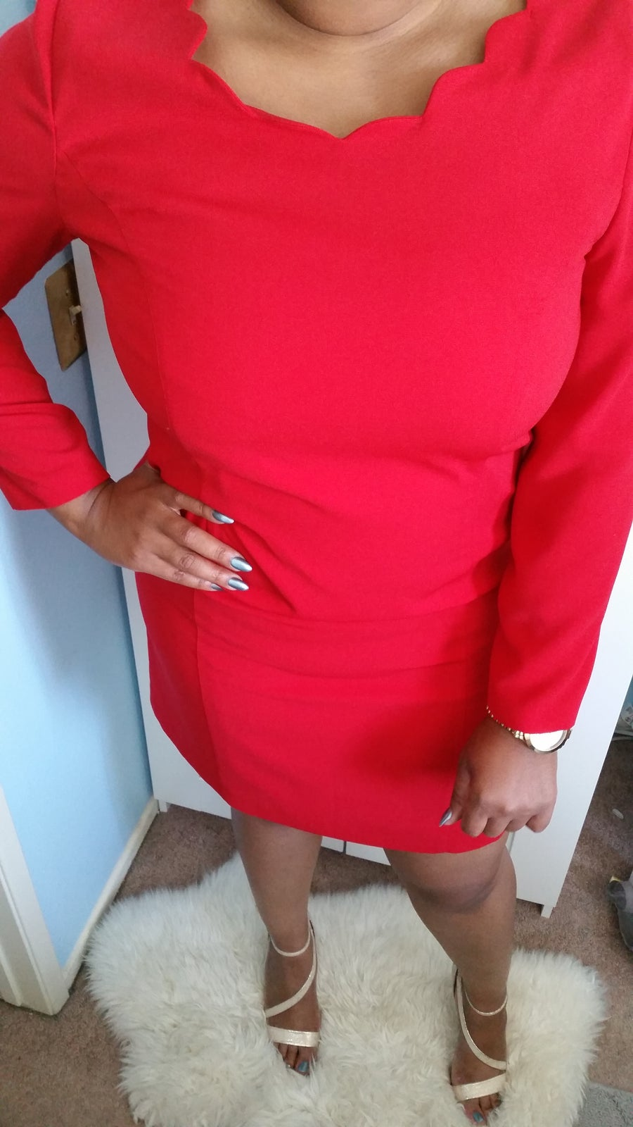 Image of Vintage Red Shell dress w/ Scallop collar (16/18)