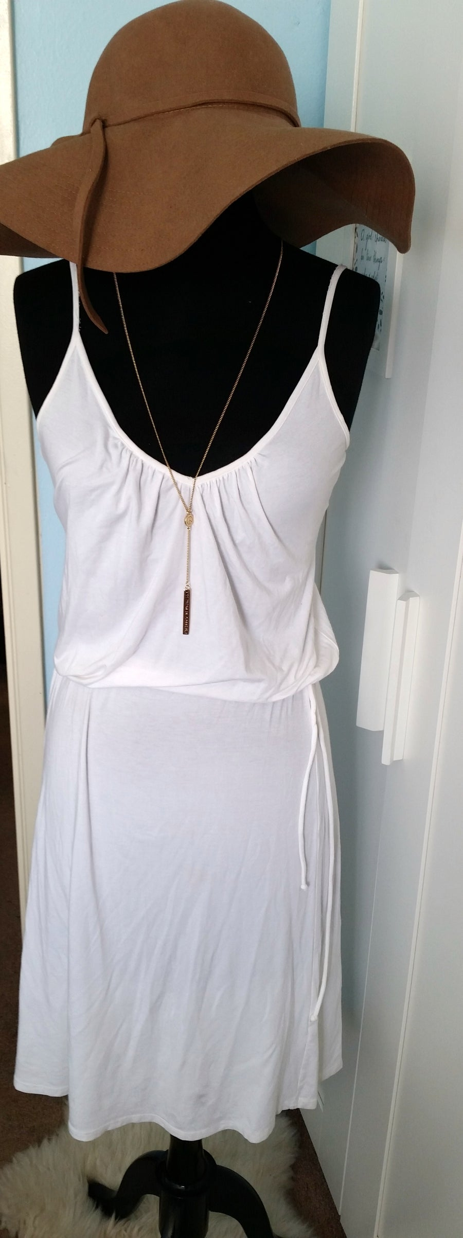 Image of white cotton tank sundress