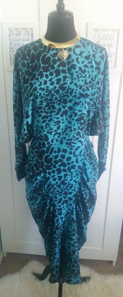 Image of Vintage Blue Leopard 80s power dress