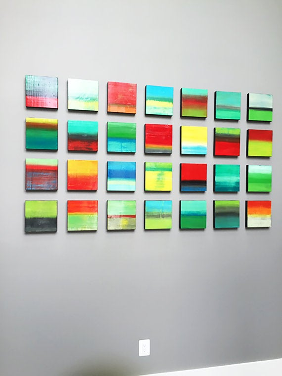 Image of 'REVERIE NO3' | Wood Wall Sculpture | Original Abstract Painting | Wood Wall Art | Colorful Art