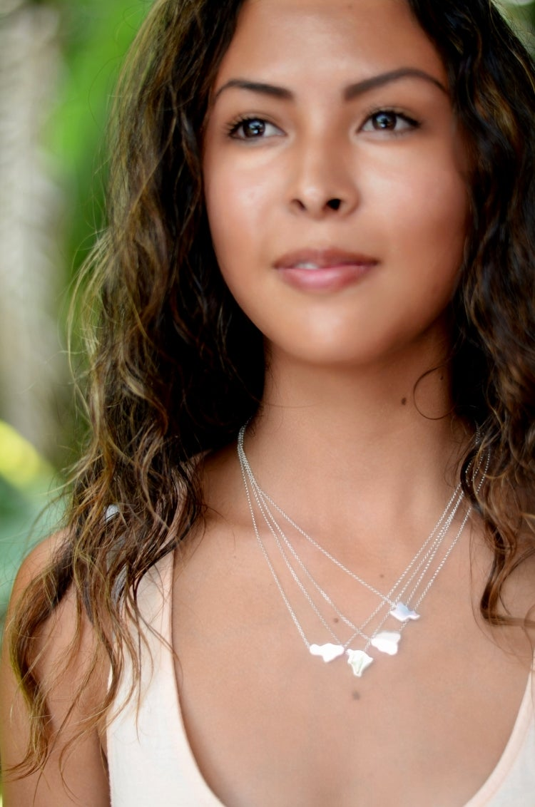 Image of Hawaiian Islands necklace sterling silver