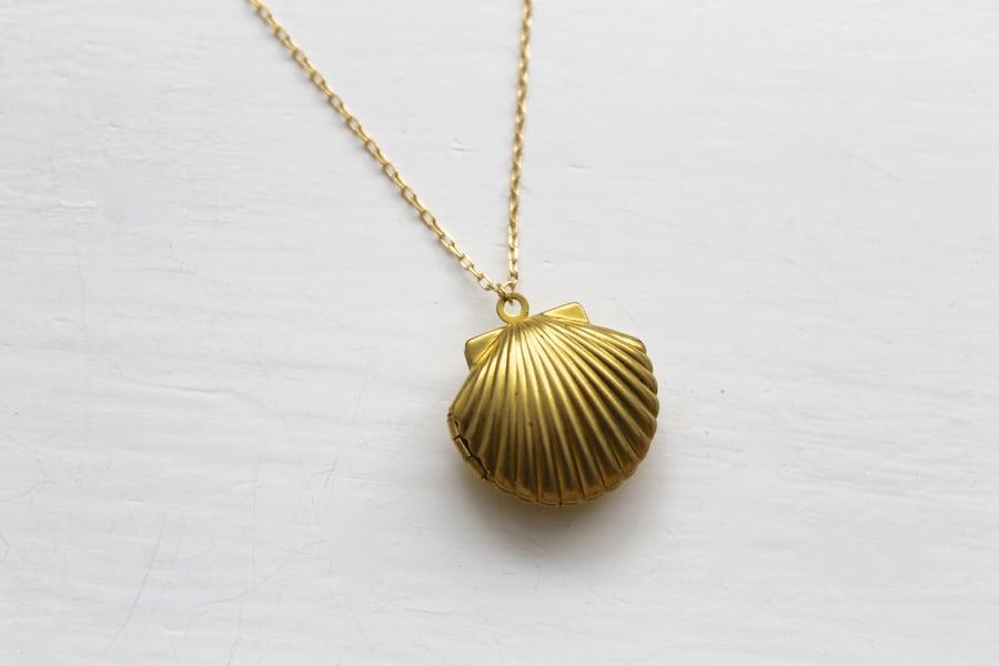 Image of Seashell Locket Necklace (Originally $26)