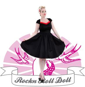 Image of Hearts & Roses - Black Plain Long Dress (9052 Svart/Röd)