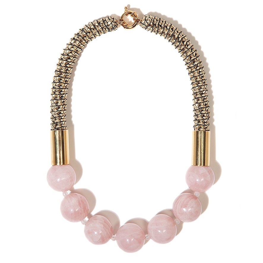 "Image of ""Jupiter Ice"" Rose Quartz Neckpiece"