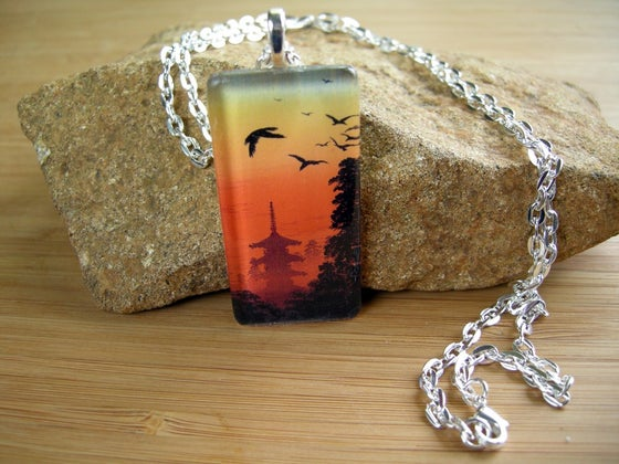 Image of Japanese Design Glass Pendant Necklace
