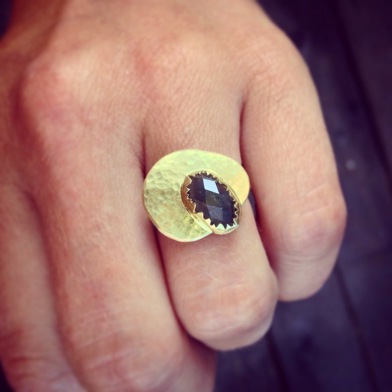 Image of SALE!! oval grey sapphire and 18k yellow gold one of a kind ring