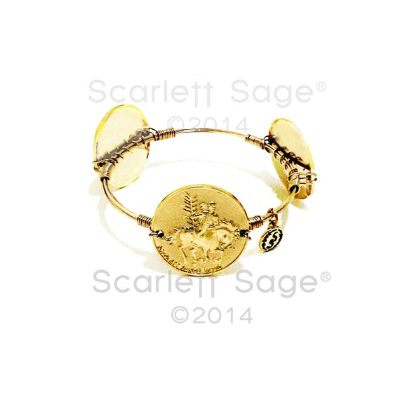 Image of Seminole Chief Osceola Medallion Bangle Florida State University theme Game Day Football Jewelry