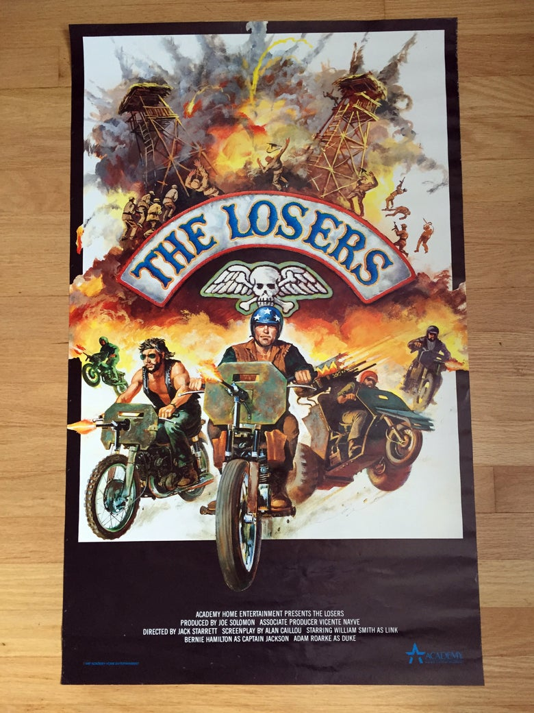 Image of 1987 THE LOSERS Academy Home Entertainment Video Promo Poster